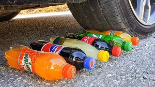 Crushing Crunchy & Soft Things by Car! EXPERIMENT CAR VS COCA COLA, PEPSI, FANTA, MIRINDA, 7UP