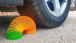 Crushing Crunchy & Soft Things by Car! EXPERIMENT CAR vs RAINBOW SPRING