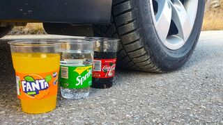Crushing Crunchy & Soft Things by Car! EXPERIMENT CAR vs COCA COLA, FANTA, SPRITE