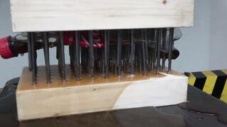 EXPERIMENT COCA COLA BETWEEN NAIL BEDS (HYDRAULIC PRESS 100 TON)