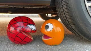 Experiment Car vs Spider Pacman vs Red Monster | Crushing Crunchy & Soft Things by Car | ASMR