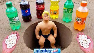 Mentos VS Coca Cola, Sprite, Monster, Fanta, different Stretch Armstrong in Big underground