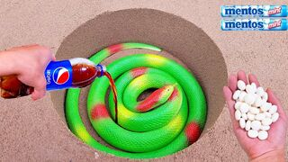 Coca Cola, Different Fanta, Mtn Dew, Pepsi,Sprite and Stretch Toy snake vs Mentos in Big Underground