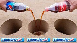 Coca Cola, Different Fanta, Mtn Dew, Pepsi,Sprite vs Mentos in Big Underground
