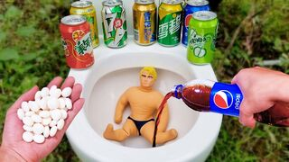 Stretch Armstrong vs Coke, Fanta, Sprite, Monster, Fruit, Pepsi and Mentos in an underground toilet