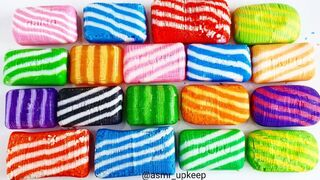 Cutting soap into cubes of striped soap