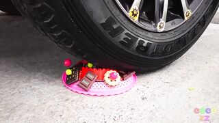 Crushing Crunchy & Soft Things by Car!- Experiment Car vs Beer, Jelly, Gun