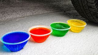 Crushing Crunchy & Soft Things by Car! EXPERIMENT Car vs JELLY, SLIME
