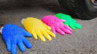 Crushing Crunchy & Soft Things by Car! EXPERIMENT: Car vs Orbeez Gloves, Water Balloons