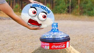 Experiment Doodles: Mentos VS Coca Cola, Fanta, Pepsi big balloons Underground | Woa Doodland