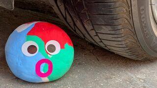 EXPERIMENT: Car vs big Foam Ball - Crushing Crunchy & Soft Things by Car!