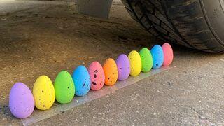 Crushing Crunchy & Soft Things by Car! EXPERIMENTS - CAR VS COLOR EGGS  ,CAR VS BIG FOAM BALL