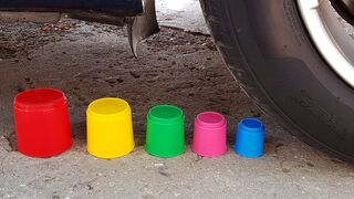 Crushing Crunchy & Soft Things by Car! EXPERIMENTS - CAR VS CUPS TEST