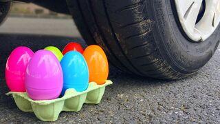 EXPERIMENT: RAINBOW EGGS VS CAR