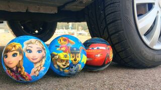 Crushing Crunchy & Soft Things by Car! Experiment Car vs Frozen, Cars & Paw Patrol Balloons