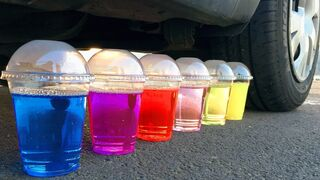 Experiment Car vs Colorful Jelly Drinks   Crushing Crunchy & Soft Things by Car!