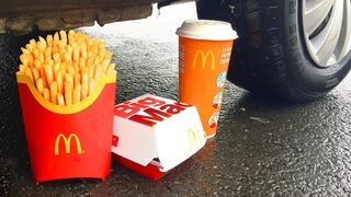 Crushing Crunchy & Soft Things by Car! - EXPERIMENT: CAR VS MCDONALDS COCA COLA DRINKS