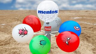 Experiment: Coca-Cola, Vinegar vs Mentos vs Balloons SuperHeroes in Tube