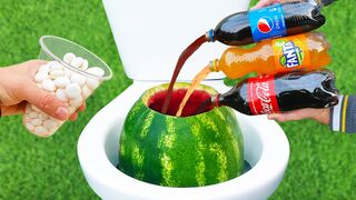 Experiment: Coca-Cola, Pepsi, Fanta and Mentos in the Toilet