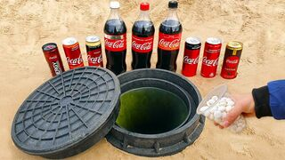 Experiment: Different Coca-Cola vs Mentos Under Hatch