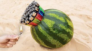 Experiment: Watermelon vs Lighters, Sparklers and Matches