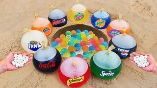 Experiment: Cola, Fanta, Schweppes, Pepsi, Mtn Dew and different soda drinks vs Orbeez and Mentos