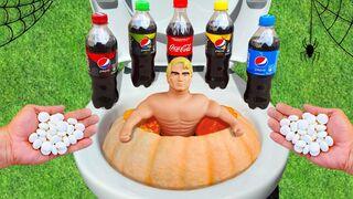 Experiment ! Stretch Armstrong vs Pepsi, Coca-Cola and Mentos vs Pumpkin - Halloween - Part 1