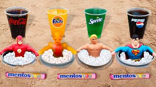 Experiment ! Stretch Armstrong, Flash, Superman, X-Ray vs Cola, Fanta, Pepsi, Sprite vs Mentos