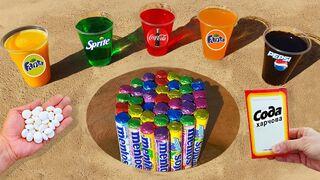 Experiment ! Sprite, Cola, Different Fanta, Pepsi and Mentos in Tube Underground