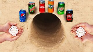 Experiment ! Pepsi, Fanta, Coca Cola, Canada Dry, Dr Pepper vs Mentos in Hole