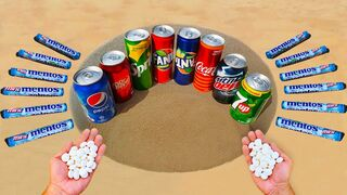 Experiment ! Pepsi, Coca-Cola, Dr Pepper, Fanta, Sprite, Mtn Dew vs Mentos Underground