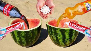 Experiment ! Watermelon, Fanta, Coca-Cola vs Mentos Underground
