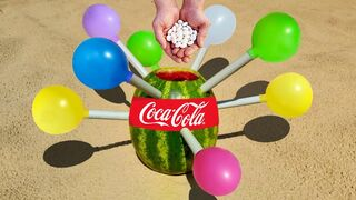 Experiment ! Watermelon, Coca Cola, Mentos vs Balloons