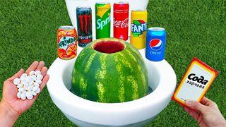 Experiment ! Watermelon vs Cola, Mirinda, Sprite, Fanta, Monster Energy, Pepsi and Mentos in Toilet