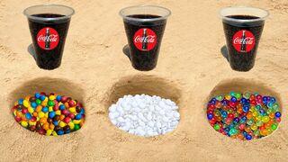 Experiment: Coca-Cola vs M&M's vs Mentos vs Orbeez in Holes Underground