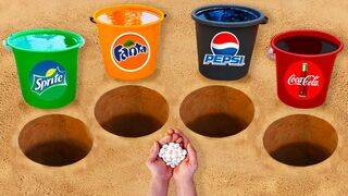 Experiment: Pepsi, Coca Cola, Fanta, Sprite in Buckets vs Mentos in different holes