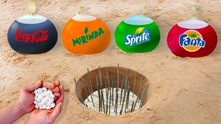 Experiment: Coca-Cola, Mirinda, Sprite, Fanta vs Nails vs Mentos