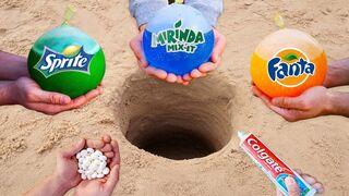 Experiment: Fanta, Sprite, Mirinda vs Mentos vs Toothpaste in Hole Underground