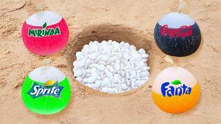 Experiment: Cola, Fanta, Sprite, Mirinda and Mentos in Hole Underground