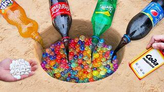 Experiment: Coca-Cola, Fanta, Sprite, Pepsi vs Orbeeze vs Mentos Underground