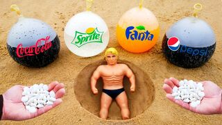 Experiment: Stretch Armstrong vs Balloons of Coca-Cola, Fanta, Pepsi, Sprite and Mentos Underground!