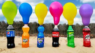 Experiment! Balloons vs Coca-Cola vs Fanta vs Sprite vs Mirinda vs Pepsi vs Mentos and Baking Soda