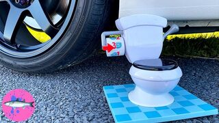 CAR vs TOILET FLUSH Experiment   Will It Flush? Crushing Crunchy and Soft Things By Car! (CCASTBC)