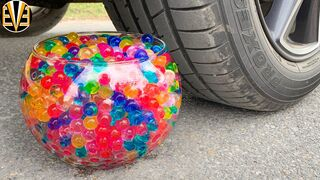 Experiment Car vs Color Orbeez in Mini Aquarium | Crushing Crunchy & Soft Things by Car | EvE