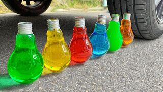 Experiment Car vs Rainbow Water in Light Bulb | Crushing Crunchy & Soft Things by Car | EvE