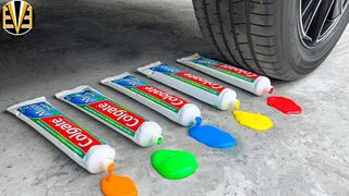 Experiment Car vs Toothpaste, Rainbow Balloons | Crushing Crunchy & Soft Things by Car | EvE