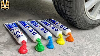 Experiment Car vs Multi Rainbow Toothpaste   Crushing Crunchy & Soft Things by Car   EvE