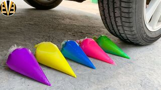 Experiment Car vs Rainbow of Slime Piping Bags | Crushing Crunchy & Soft Things by Car | EvE
