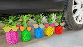 Experiment Car vs Rainbow PineApple    Crushing Crunchy & Soft Things by Car   EvE