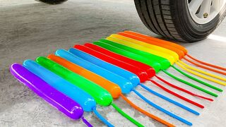 Experiment Car vs Rainbow Long Balloons | Crushing Crunchy & Soft Things by Car | EvE